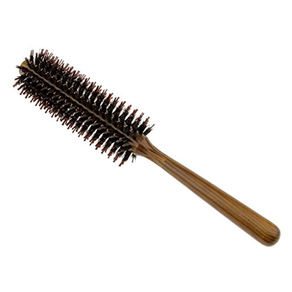FutuHome サロン剛毛カーリングヘアラウンドブラシバレルヘアスタイリングコームヘアブラシ - S
