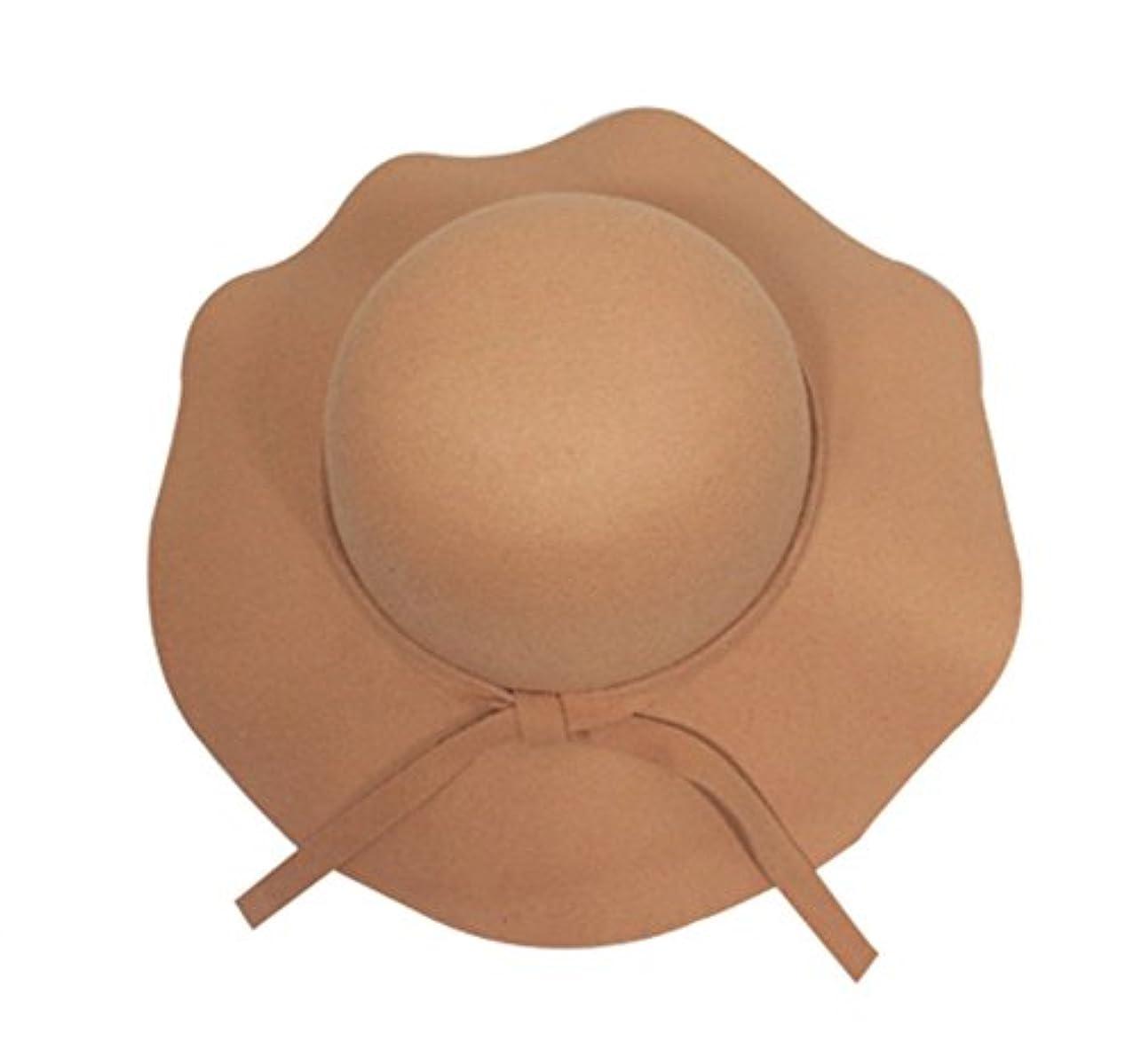 女性のファッションヴィンテージFloppy Wide Brimウールフェルト秋冬帽子ジョーカーキャップ