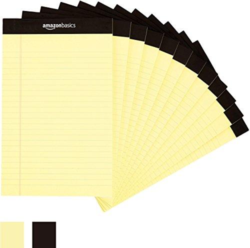 AmazonBasics メモ帳 メモパッド ジュニアサイズ 12冊 各50枚 イエロー