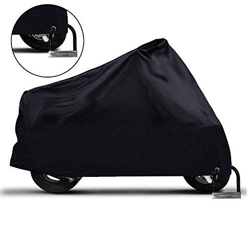 バイクカバー-IntiPal耐熱オートバイクカバー-防水防雪バイクカバー 超撥水 カバーバイク用 盗難防止 風飛防止付 (XL,ブラック)
