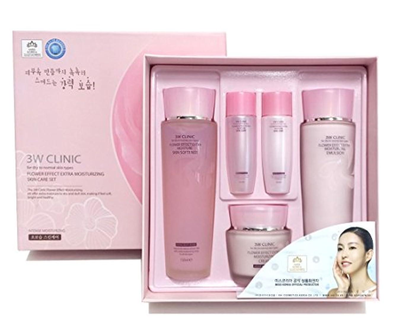 啓示ポジティブ天才[3W CLINIC] フラワーエフェクトエクストラモイスチャライジングスキンケアセット / Flower Effect Extra Moisturizing Skin Care Set / ヒアルロン酸 / hyaluronic...