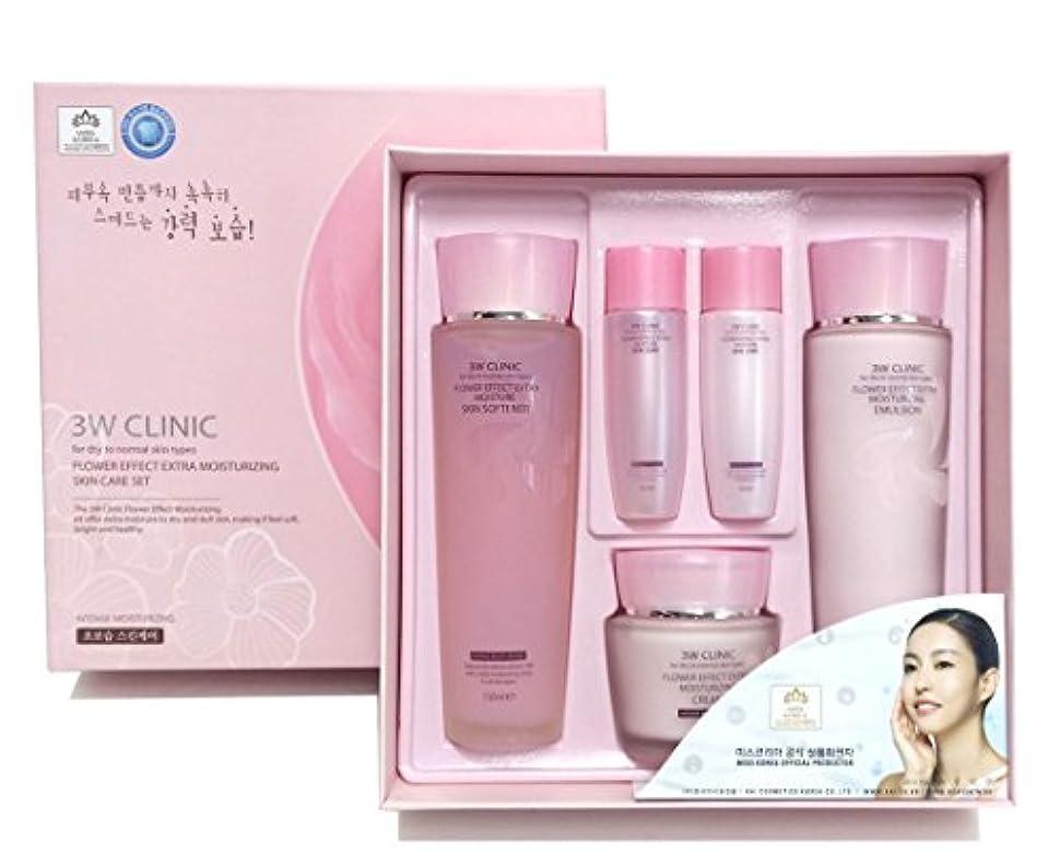 閃光接続平和[3W CLINIC] フラワーエフェクトエクストラモイスチャライジングスキンケアセット / Flower Effect Extra Moisturizing Skin Care Set / ヒアルロン酸 / hyaluronic...