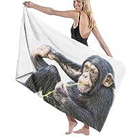 マイクロファイバーバスタオル かわいいサル 夏 ビーチタオル 吸水速乾 家庭用 柔らか肌触り 80cm*130cm