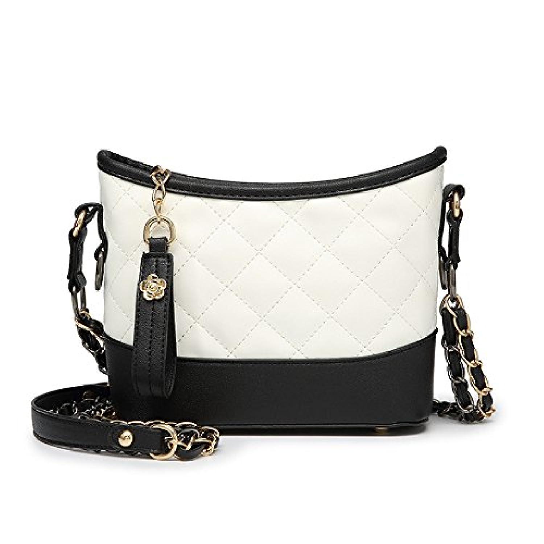 多機能 新しいヨーロッパとアメリカの女性のショルダーバッグ菱形チェーンハンドバッグ (色 : BlackWhite)