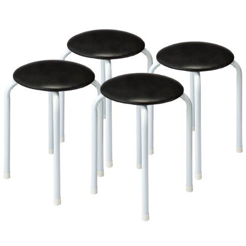 サンワダイレクト 丸イス パイプ 軽量 積み重ね可能 4脚セット ブラック 150-SNC061BK4