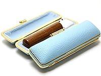 「なつめ印鑑18.0mm×60mmファンシーレザーケース(ブルー)付き」 縦彫り 吉相体