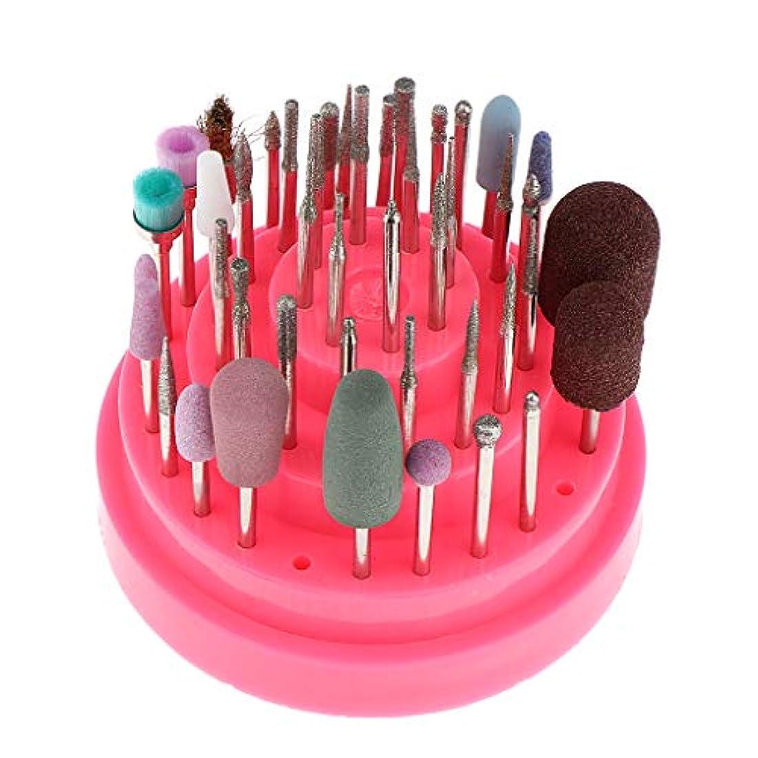 銀すべき手のひらネイル研削ヘッド ネイルドリルビットセット ネイルアートツール ネイル道具 全2色 - ピンク