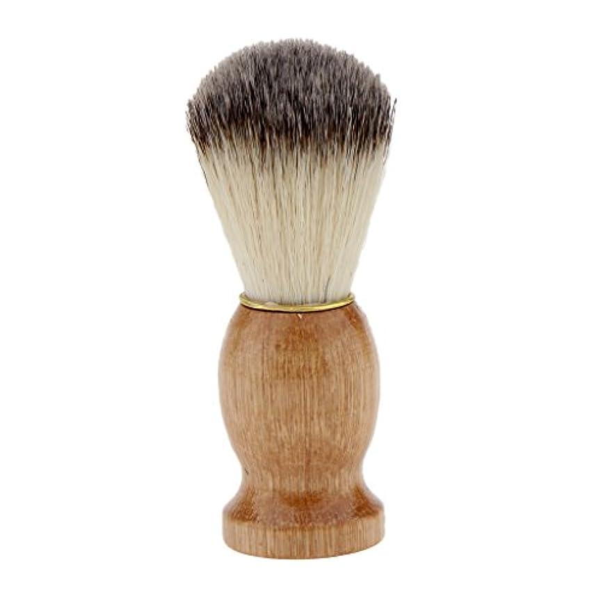 レタッチアクセスウェイターシェービングブラシ 木製ハンドル 男性 ひげ剃りブラシ ひげ クレンジング