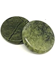 オリーブ玉翡翠ホットストン 足つぼ?手のひら かっさ Natural Green Jade Stone hot stone for body massage Spa massage tools (L 2 点PCS) (3.14...
