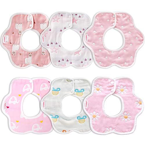 (6枚入り) Hapipana よだれかけ ベビー ビブ 綿100% 6重ガーゼ 花びら型 360度回転 食事用 スタイ 柔らかい 出産のお祝いギフト (女の赤ちゃん)