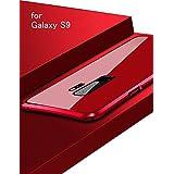 Galaxy S9 メタルバンパー uovon 高品質アルミ製フレーム+バックプレート スクラッチ保護 サムスンS9 カバー オシャレデザイン 最高レベル耐衝撃 au s9 ケース (Galaxy S9, レッド)