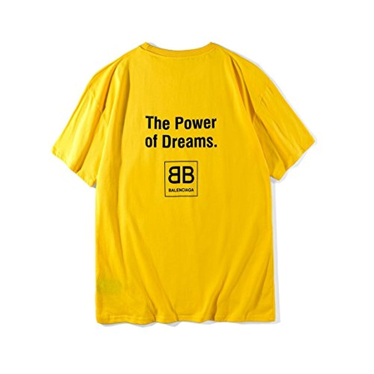 目立つ自然ウールバレンシアガ BALENCIAGA メンズ Tシャツ the power of dreams ゆったり 黄色 夏ウェア (XL)