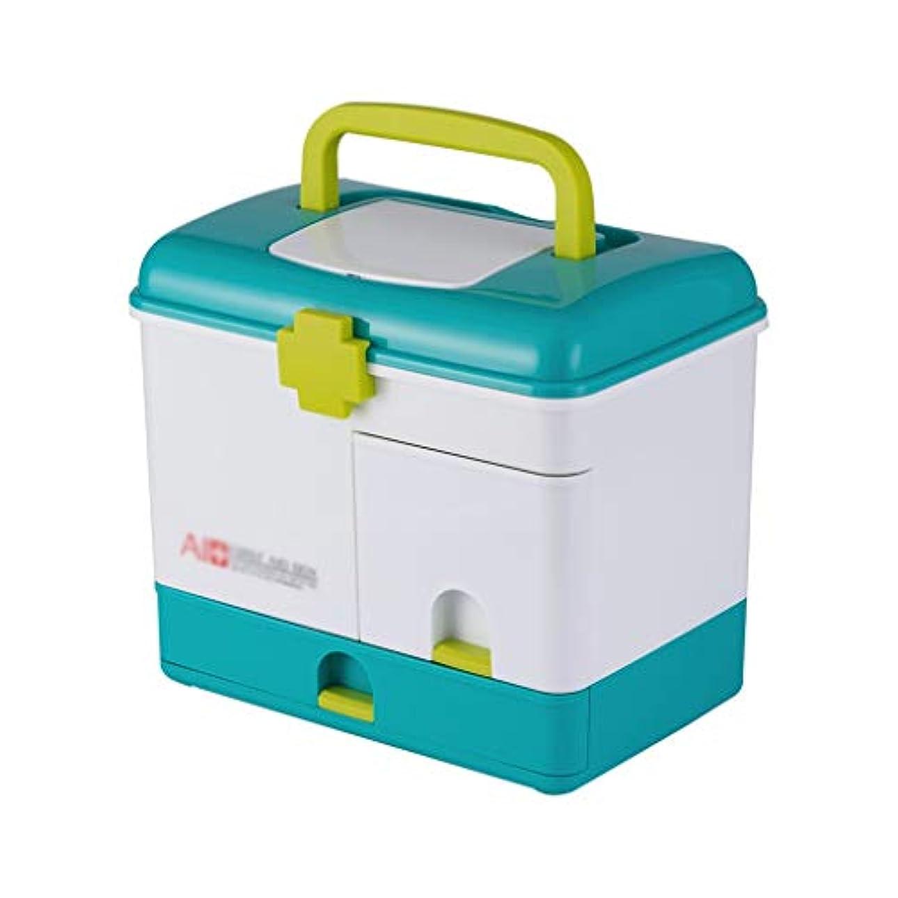 過言ケイ素祈り薬箱家庭用大薬箱多層車両大容量薬収納ボックスロックブルー SYFO