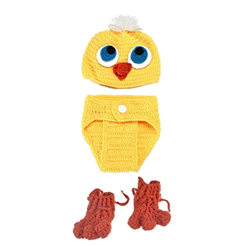 RaiFu 帽子 赤ちゃん幼児新生児ユニセックスニットスーツかわいい黄色ダックルックハンドメイドニット帽子パンツ靴ベビー写真ショット小道具キッドコスチューム