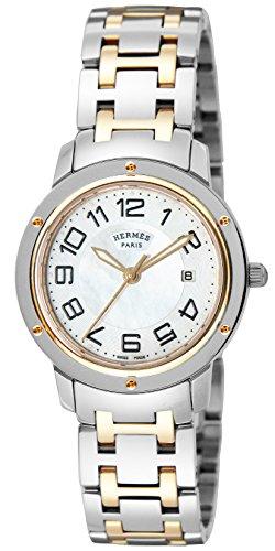 [エルメス]HERMES 腕時計 クリッパー ホワイトパール...