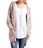 Nicellyer 女性半ばロングロングスリーブ週末ポケット固体プラスサイズカーディガン Pink S