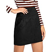 MakeMeChic Women's Zipper Back A-line Bodycon Mini Faux Suede Skirt