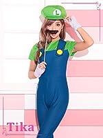 ゆんころ コスプレ着用 衣装 Tika ティカ 3set ルイージコスチュームセット(オールインワン/帽子/手袋/ひげスティック) グリーン×ブルー フリーサイズ la-hw73723j