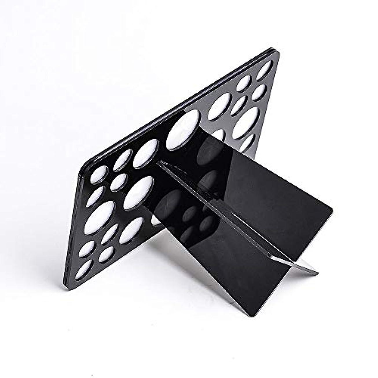 ひらめき適用する結び目メイクブラシホルダー ブラシたて 化粧ブラシスタンド メイクブラシ 収納 化粧筆を干す 乾燥立てホルダー アクリル製 折畳み可