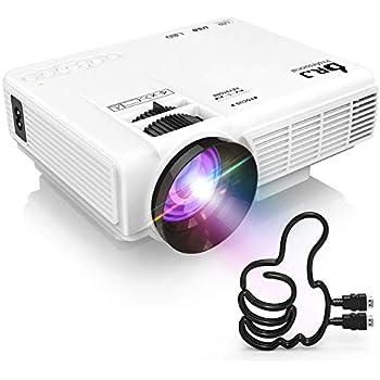 DR.J LED プロジェクター 小型 3600ルーメン 1080PフルHD対応 800*480解像度 HDMIケーブル付属 台形補正 パソコン/スマホ/タブレット/ゲーム機など接続可能 USB/マイクロSD/HDMI/AV/VGAサポート 標準的なカメラ三脚に対応 3年保証