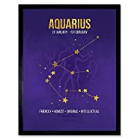 Zodiac Star Sign Birthday Astrology Aquarius Art Print Framed Poster Wall Decor 12X16 Inch 黄道帯星ポスター壁デコ