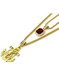 ゴールドトーンSmall Red Ruby & Jesusアンカー3 mm30