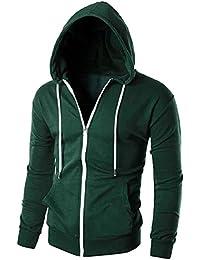 Keaac メンズファッションスリムジップアップロングスリーブパーカースウェットシャツジャケット