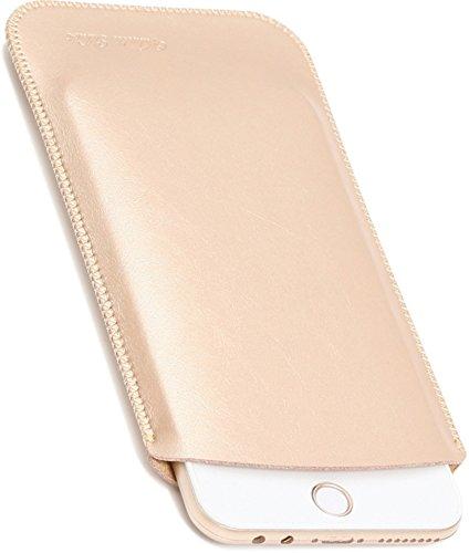 V.M 6.1 / 6.5 / 5.5 / 5.8 / 4.7 インチ スマホケース レザー iPhone XR スリーブ ケース 軽 薄 皮 革 スマホ スリップイン カバー アイフォン テンアール スリップインケース アイホン スリップケース スリップ インケース イン ポーチ 袋 携帯ケース ゴールド iPhoneXR 金