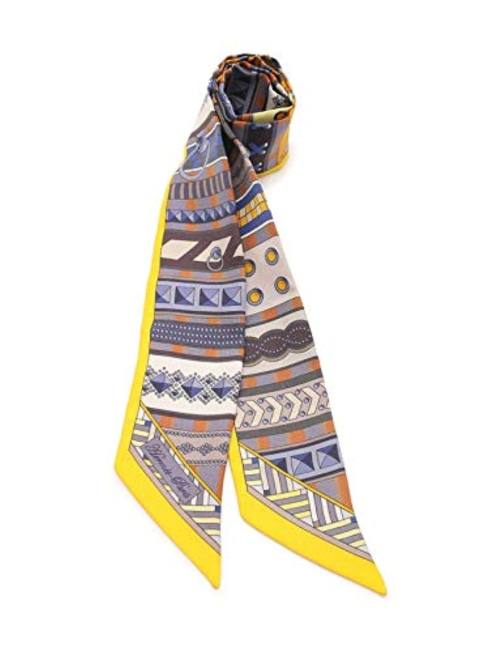 アンデス山脈クーポンレンジ(エルメス) HERMES ツイリー リボンスカーフ シルク 黄 マルチカラー 中古