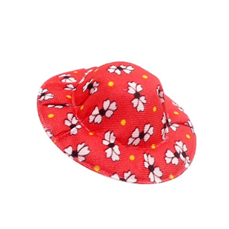 Fenteer 4色選ぶ 人形用 ボウラーハット 花柄帽子 1/12スケールドールハウス ボウラー帽子 キャップ - 赤