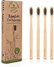 FutureUses® - Bamboo Toothbrush - 4 Toothbrushes - Biodegradable Handle and Packaging - Charcoal Infused Soft Bristles - Eco