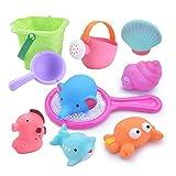 お風呂おもちゃ WELCOOL シャワー プールトイ 水遊びおもちゃ 10点セット 噴水 音 漁網 柔らかい おふろおもちゃ 子供 赤ちゃん