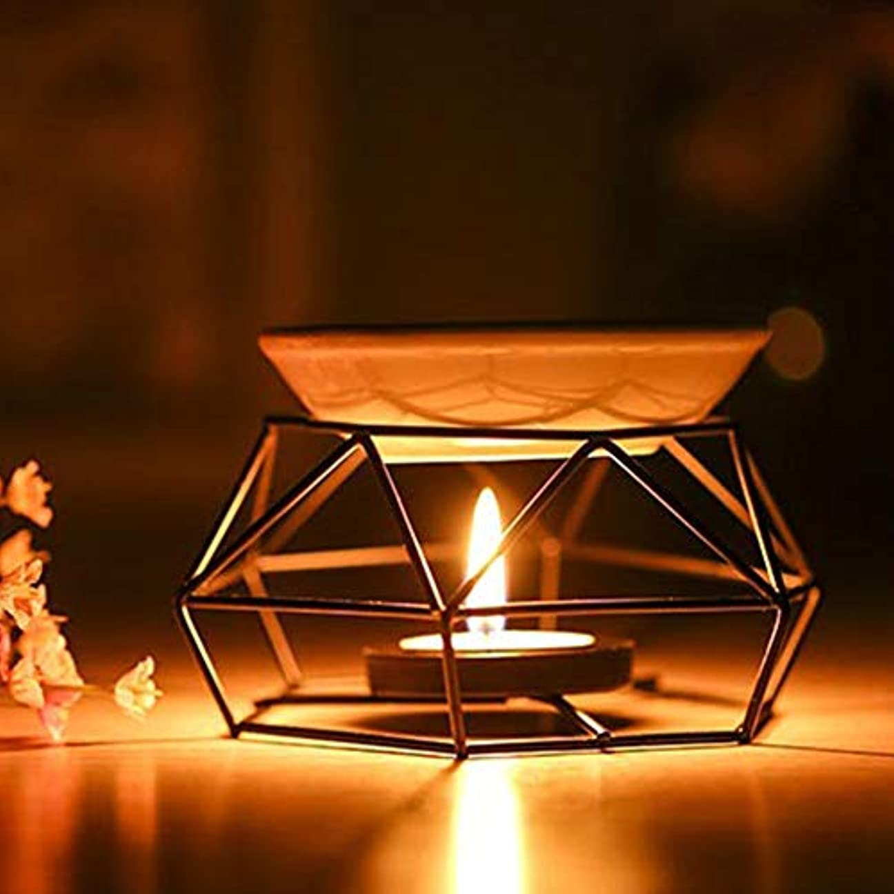 バーゲンドック沈黙アロマディフューザーアロマセラピーアイロンホームデコレーションヨガキャンドル屋内工芸品オイルバーナーブラックギフトスパ