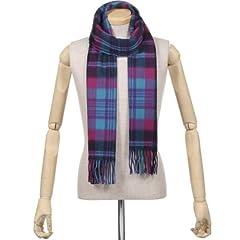 Begg Scotland Lambswool Angora Tartan Scarf: Turquoise / Pink
