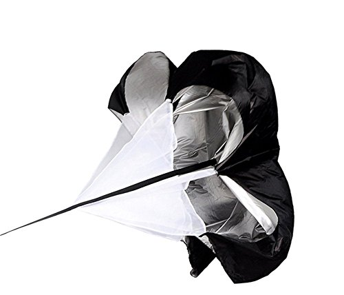 抵抗パラシュート トレーニング レジスタンスパラシュート 陸上 サッカー フットサル 練習用傘 筋力トレ フィットネス 運動用品 スピード傘 陸上競技 爆発力 収納袋付き (ブラック)