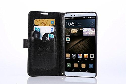 PopSky Huawei Ascend Mate 7 ケース,【全4色】ソフトタッチ快適 Huawei Ascend Mate 7 最高品質のPUレザー 材質 超軽量 薄型スタンド機能つき の専用保護ケース (ブラック)
