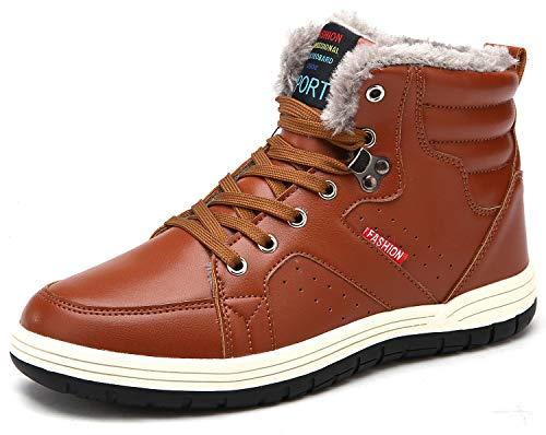 SIXSPACE スノーブーツメンズ防水防寒靴スノーシューズ防滑アウトドアシューズウィンターブーツ綿雪靴滑り止めブラウう25.5センチメートル