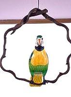 南国のカラフルバード 吊り下げ 木の枠 緑 [30cm] アジアン雑貨