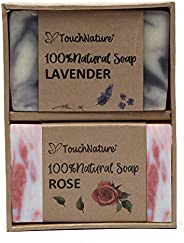 Touch Nature Lavender and Rose Handmade Pure Castile Soap in Brown Box. Essential Oils With French Red Clay an