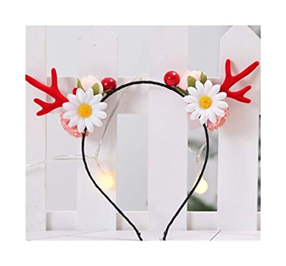 期待ラベ気楽な同じ段落クリスマス枝角ヘアピン小さなクリップ大人面白いネット赤い髪カーソン女性のヘアアクセサリーヘラジカヘッドの装飾品赤い枝角の花のヘッドバンド