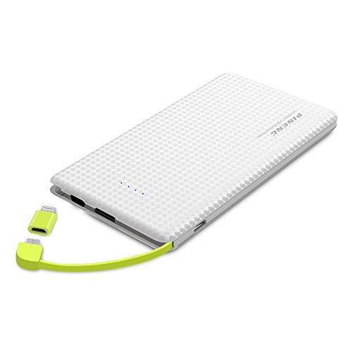 KYOKA モバイルバッテリー 10000mAh ケーブル内蔵 軽量 薄型 大容量 ライトニング/microUSBコネクタ付 2USBポート 2台同時充電 スマホ 充電器 コンパクトで持ち運び便利 iphone/android/ipadに対応 (ホワイト)