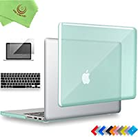 "ueswill 3in1光沢クリスタルクリアSee Throughハードシェルケースとシリコンキーボードカバーfor MacBook Retina +マイクロファイバークリーニングクロス MacBook Pro 15"" with Retina Display グリーン UES06C15R3-07"