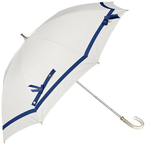 (ランバン オン ブルー)LANVIN en Bleu 晴雨兼用 日傘 【遮熱&遮光】 長傘 大きい 50cmビジュー付き小リボン