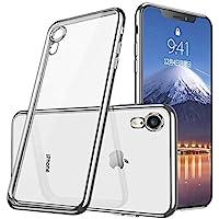 iphone XR ケース クリア TPU 耐衝撃 シリコン おしゃれ かわいい ソ 防塵 指紋防止 ソフト 透明 メッキ加工 Qi 充電 対応 最軽量 超薄型 一体型 人気 ケース シルバー