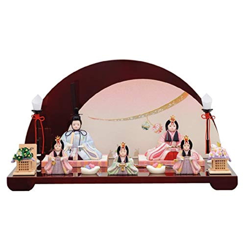 雛人形 一秀 江戸木目込み人形 五人揃い(5人) 平飾り 書目 さくらさくら 幅50cm [i-15-c114] 半円重ね屏風 ひな祭り