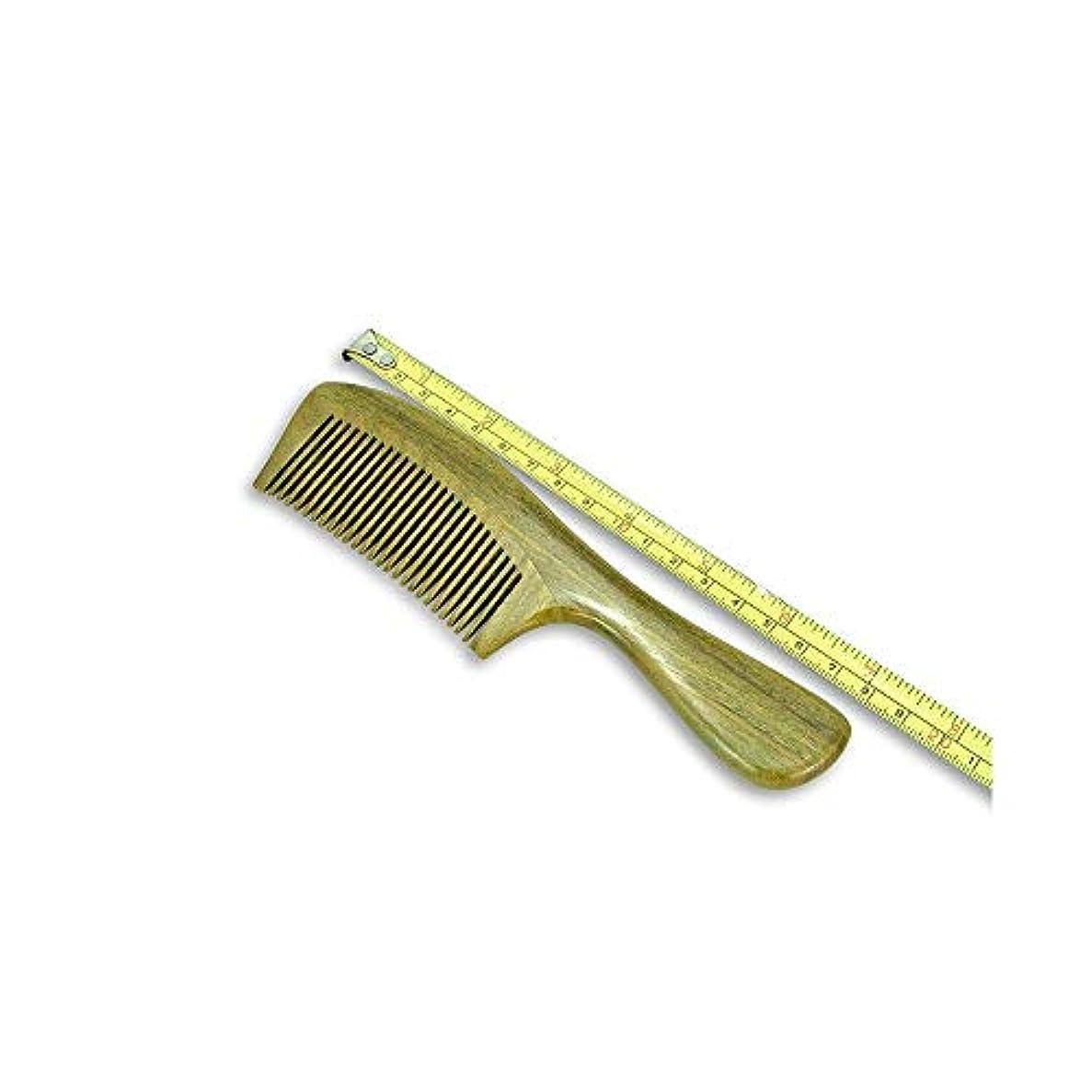 説明的発表用心深いFashianナチュラルグリーンサンダルウッドの木製くし手作り抗静的ワイドで薄い歯 ヘアケア