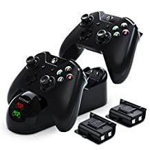 Xbox Controller Charger, YCCTEAM Xbox One Battery Pack Rechargeable for Xbox One, Xbox One X, Xbox One S, Xbox One Elite Controller, Xbox One Charging Station with 2pcs 1200mAh Rechargeable Battery