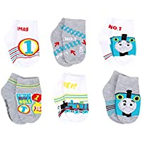Thomas & Friends Little Boy's 6-Pack Character Quarter Socks, Toddler Shoe Size 4-7, White/Grey