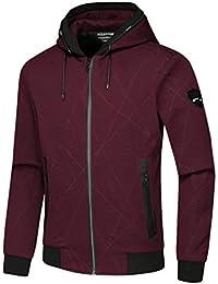 BANKIKU (バンキク) ジャケット スポーツウェア メンズ 薄手 おしゃれ 柄 ファスナー ポケット ジャンパー 立ち襟 フード付き ポリエステル ランニング