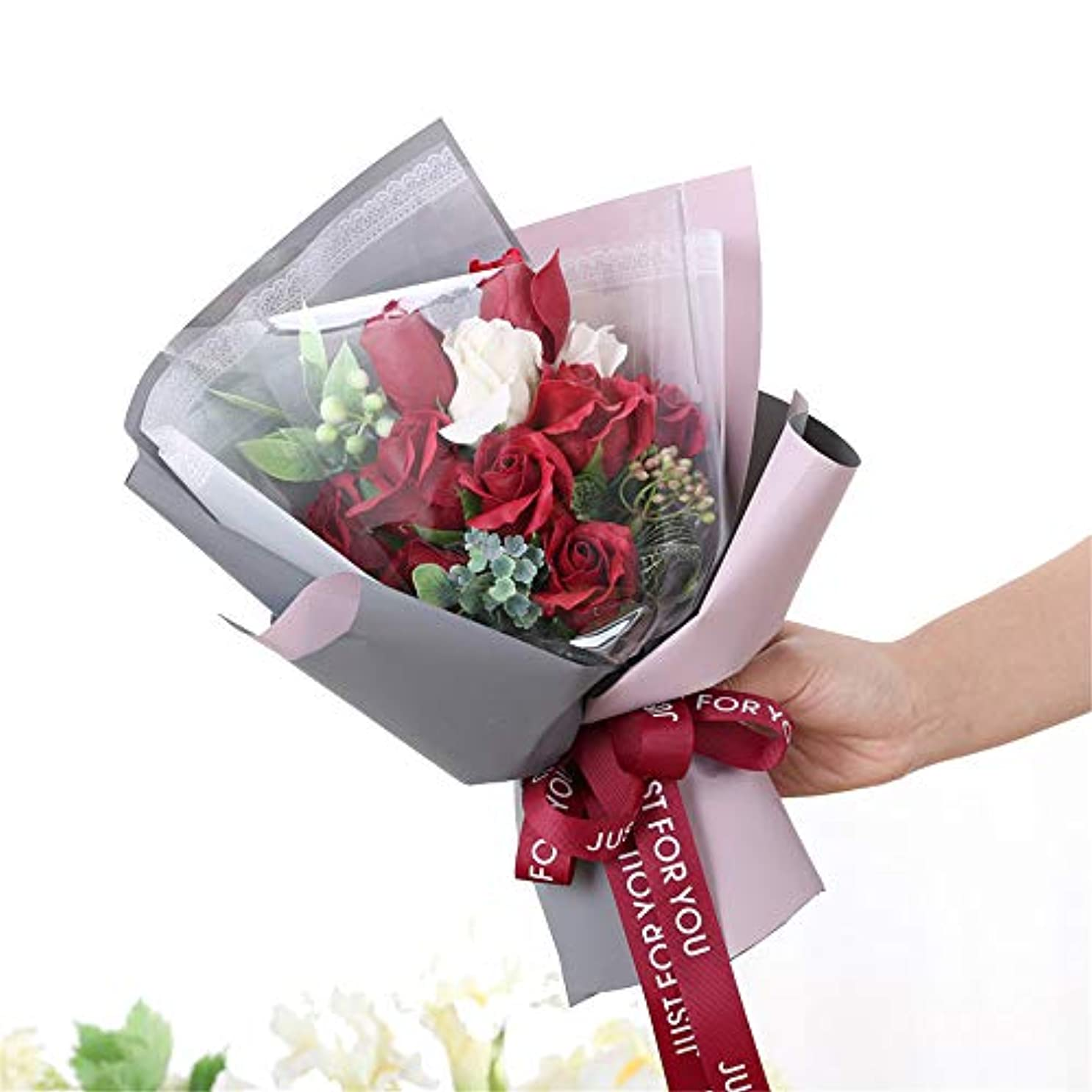 怪物フォーマルカウボーイ手作りのバラ石鹸フラワーブーケのギフトボックス、女性のためのギフトバレンタインデー、母の日、結婚式、クリスマス、誕生日を愛した女の子 (色 : 赤)
